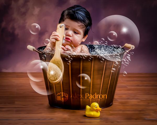 bubble bath stylized portrait