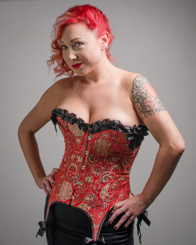 red corset beauty studio shoot